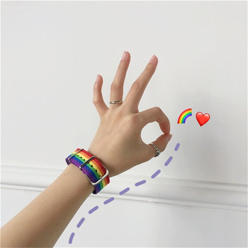 Fun and versatile, this Rainbow Bracelet has a toggle clasp and multiple holes to fit your wrist. Easily pair with anything in your wardrobe. Color multi-colored. Choice of 1 or 2 bracelets. Delivery 4-13 days. From our Utterly Unique Boutique. Description: Material: Nylon, Clasp: Toggle, Metal: Alloy.