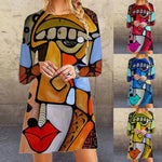 Colorful and fun, this Printed Face Dress features a crew neckline, full sleeves, falls above the knee and a bright printed face pattern. Choose from 4 colors. Size S-3XL. Delivery 4-17 days. From our Utterly Unique Boutique. Description: Neckline: Crew, Sleeve Length: Full, Material: Cotton, Polyester Length: Above Knee, Pattern: Printed Face.