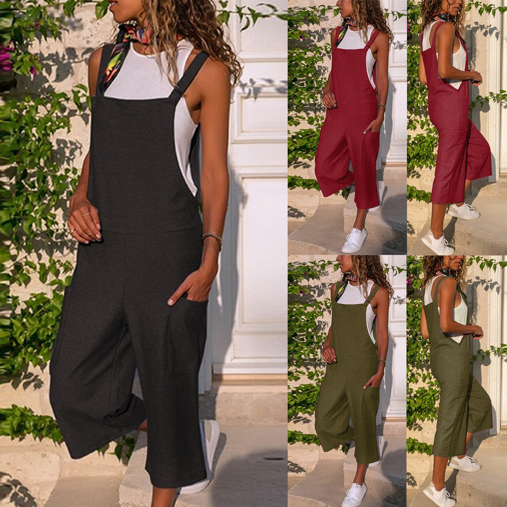 These comfortable Deep Pocket Overalls feature a bib with straps, a capri length, loose fit, solid pattern and deep pockets. Pair with flats, sandals or gym shoes. Choose from 6 colors. Delivery 4-13 days. From our unique boutique. Description: Length: Capri Fit: Loose, Fashion Element: Deep Pockets, Material: Cotton, Linen, Pattern: Solid.