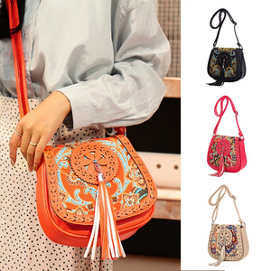 Carry this Boho Crossbody Bag for a fun cute look. Featuring a single adjustable strap, an interior slot pocket, exterior zipper pocket, a flap with a magnetic snap, hollow out with a boho design and a long tassel. Choose from 4 colors. Delivery 4-13 days. From our Utterly Unique Boutique.
