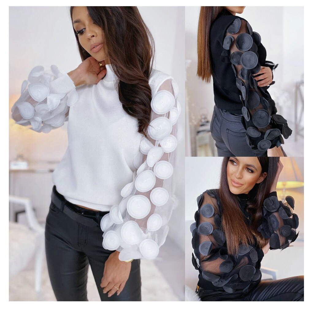 This trendy Sheer Polka Dot Sleeve Top looks fantastic on and is sure to be a conversation piece! It features a full puffed sleeve, appliques and a polo neckline. Choice of color white or black. From our unique boutique. Description: Material: Polyester, Fashion Element: Appliques, Sleeve Length: Full, Neckline: Polo, Sleeve Style: Puffed.