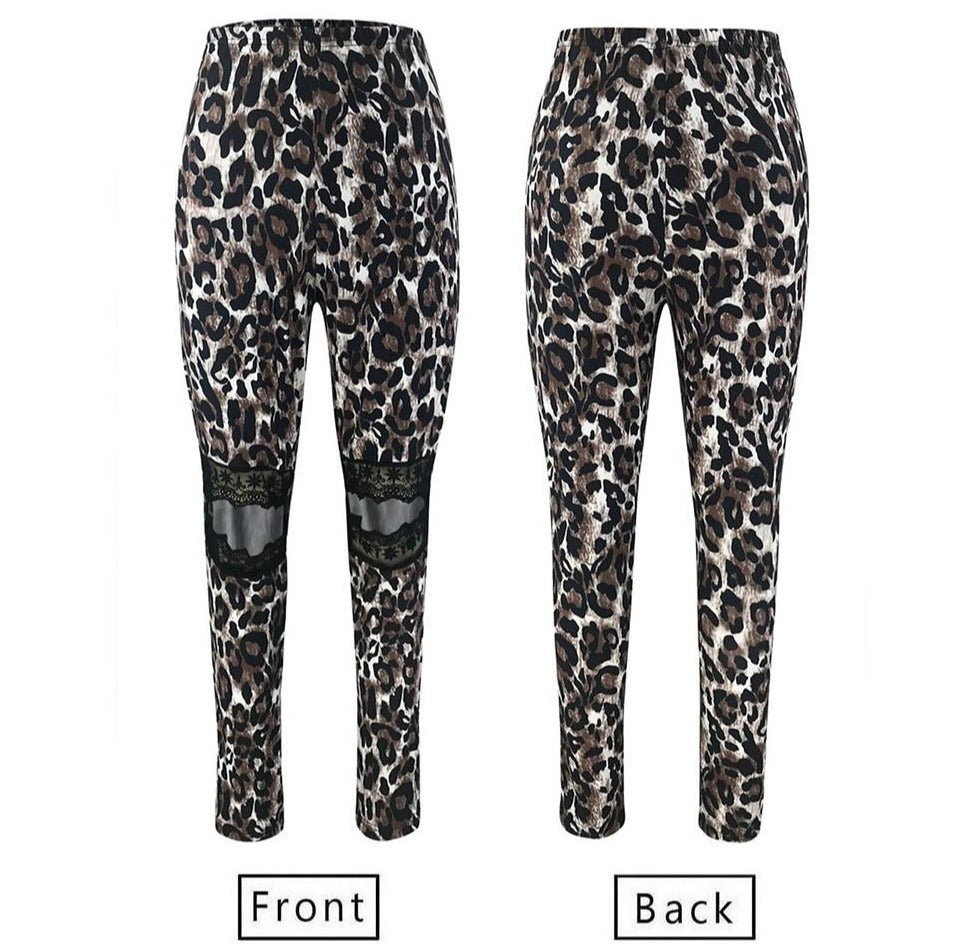 Hollow Out Leopard Pants