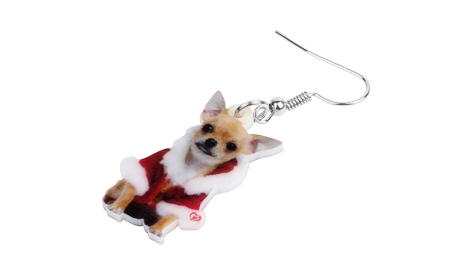 Chihuahua Christmas Earrings