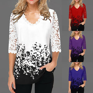 This beautiful, elegant Floral Pattern Lace Top is sure to get you compliments. It features floral lace, scalloped half sleeves, a printed floral pattern and a scalloped V-neckline. Pair with pants or jeans. Choose from 4 colors. Size S-5XL. From our Utterly Unique Boutique. Description: Material: Cotton, Polyester, Sleeve Length: Half, Fashion Element: Floral Lace, Scalloped, Neckline: V-Neck, Pattern: Floral.
