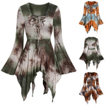 This flattering Lace-Up Tunic is adorable and also a great addition to Halloween! Featuring a printed pattern with multiple colors, long bell sleeves, a sharkbite hemline, lace-up front and a Queen Anne neckline. Choose from 3 colors. Delivery 4-13 days. Size S-3XL. From our Utterly Unique Boutique. Description: Pattern: Printed, Neckline: Queen Anne, Sleeve: Full, Bell, Material: Polyester Blend, Fashion Element: Lace-Up, Hemline: Sharkbite.