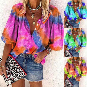 Love the tie dye look? We have you covered with this soft, stretchy and comfortable Tie Dye Button-Down Top. Featuring long sleeves, button-down closure, stand-up collar and a fun tie dye print. Pair with shorts, leggings or jeans for a casual yet trendy look. Choose from 4 colors. Delivery 4-14 days. From our unique boutique. Features: Material: Polyester Blend Fashion Element: Tie Dye Sleeve length: Long Collar: Stand-Up, Elasticity: Stretchy, Closure: Button-Down.