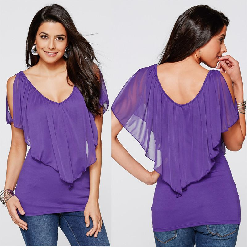 Cold Shoulder Ruffled Chiffon Top - Utterly Unique Boutique