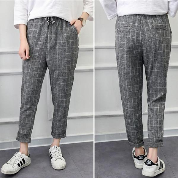 Loose Plaid Pants - Inexpensive Trendy Women's Clothing - S-3XL - New - Slide into these plaid pants featuring an ankle length, pockets, drawstring closure, loose fit and a mid waistline. Your choice of 4 colors. From our inexpensive trendy women's clothing. Description: Length: Ankle, Waist: Mid, Pattern: Plaid, Fit: Loose, Material: Polyester, Cotton, Closure: Drawstring, Fashion Element: Pockets.