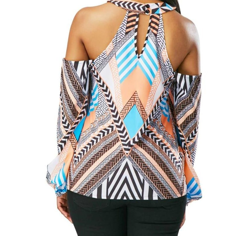 Geometric Off The Shoulder Top