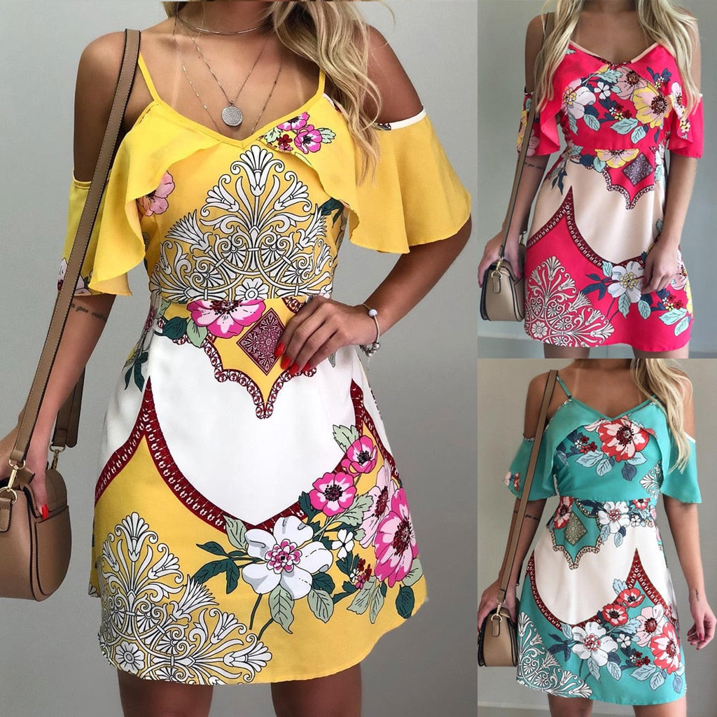 This Off The Shoulder Floral Dress is perfect for those hot days! It features above the knee in length, a V-neckline, off the shoulder sleeve with spaghetti straps, fit and flare silhouette and a beautiful floral print. Choose from teal, fuchsia or yellow. From our unique boutique. Description: Sleeve Style: Off The Shoulder, Print: Floral, Length: Above Knee, Neckline: V-Neckline, Material: Polyester, Straps: Spaghetti, Silhouette: Fit And Flare.
