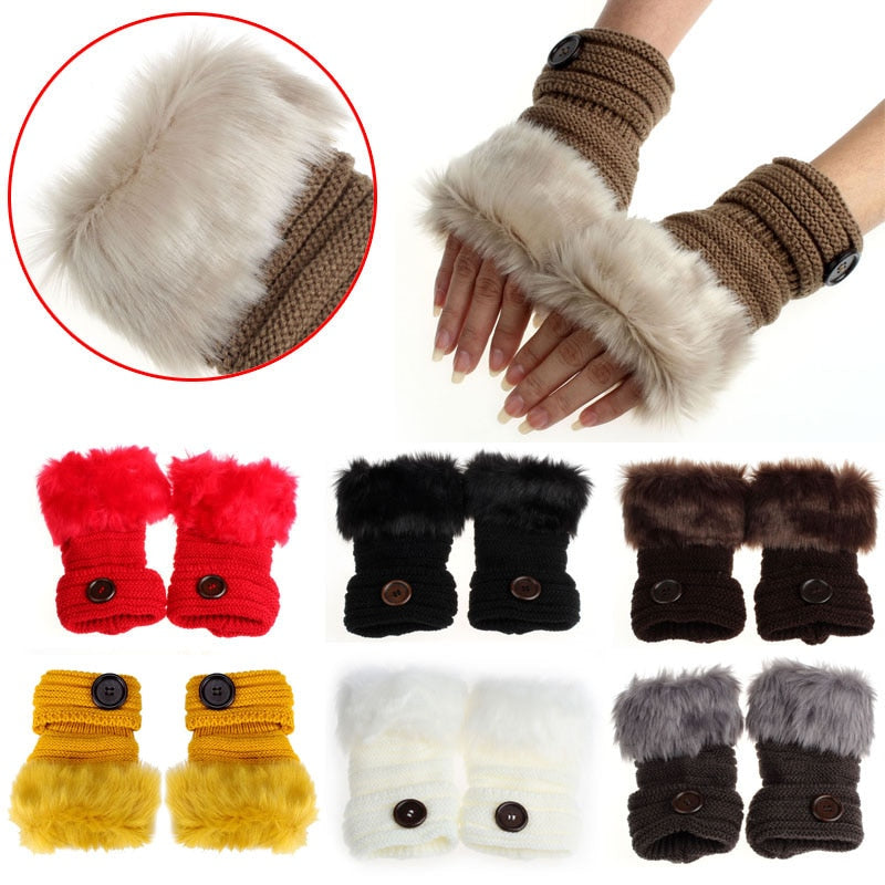 Stay warm this season and still use your fingers with these Faux Fur Fingerless Gloves. Featuring a wrist length, solid pattern and a button. Choose from 9 colors. From our unique boutique. Description: Material: Faux Fur, Length: Wrist, Fashion Element: Button Pattern: Solid Size: One Size Fits Most.