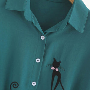 Embroidered Cat Top