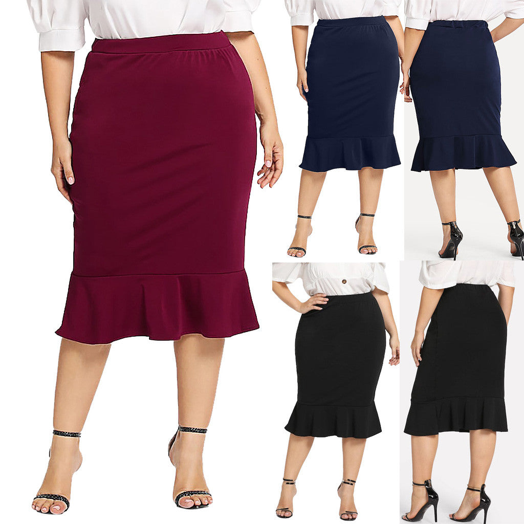 Go from office to evening in this cute Ruffle Skirt featuring a solid pattern, bottom ruffles, elastic waistline and falls at the knee. Choose from 3 classic colors. From our Utterly Unique Boutique. Description: Material: Polyester, Pattern: Solid, Fashion Element: Bottom Ruffles, Length: Knee, Waistline: Elastic.