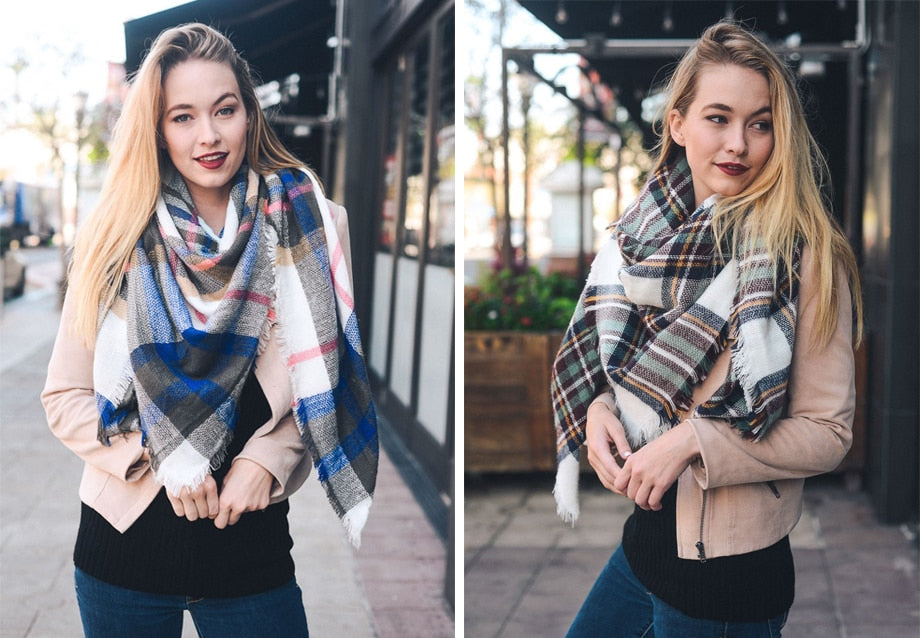 "Blanket Scarf - Unique Boutique - $9.99 - Cashmere & Acrylic Blend - Up the warmth of any outfit with a blanket scarf! This generously sized scarf is perfect for air travel too or as a gift. Choose from 33 patterns and colors. From our unique boutique. Description: Material: Blended Cashmere & Acrylic, Pattern: Plaid, Triangle Size: 55"" x 55"" x 75"" (140 cm x 140 cm x 190 cm), Shape: Triangle."