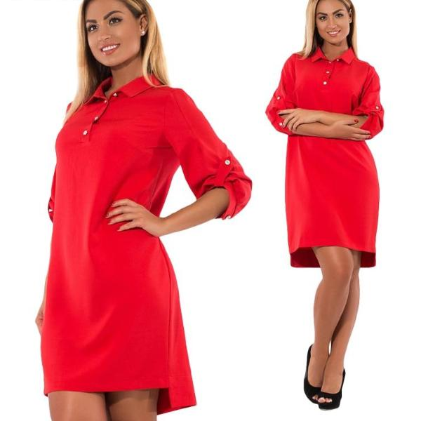 3.4 Sleeve Office Dress - Unique Boutique - Cute - Curvy - FREE SHIP - Getting ready is easy when you fall into this awesome dress. Featuring 3/4 sleeves, solid pattern, loose fit, turn-down collar, high-low hemline, buttons, roll tab sleeve and above the knee length. Choose from 4 fun colors. From our unique boutique. Description: Sleeve Length: Three-Quarter, Silhouette: Loose, Material: Polyester, Spandex, Dress Length: Above Knee, Pattern