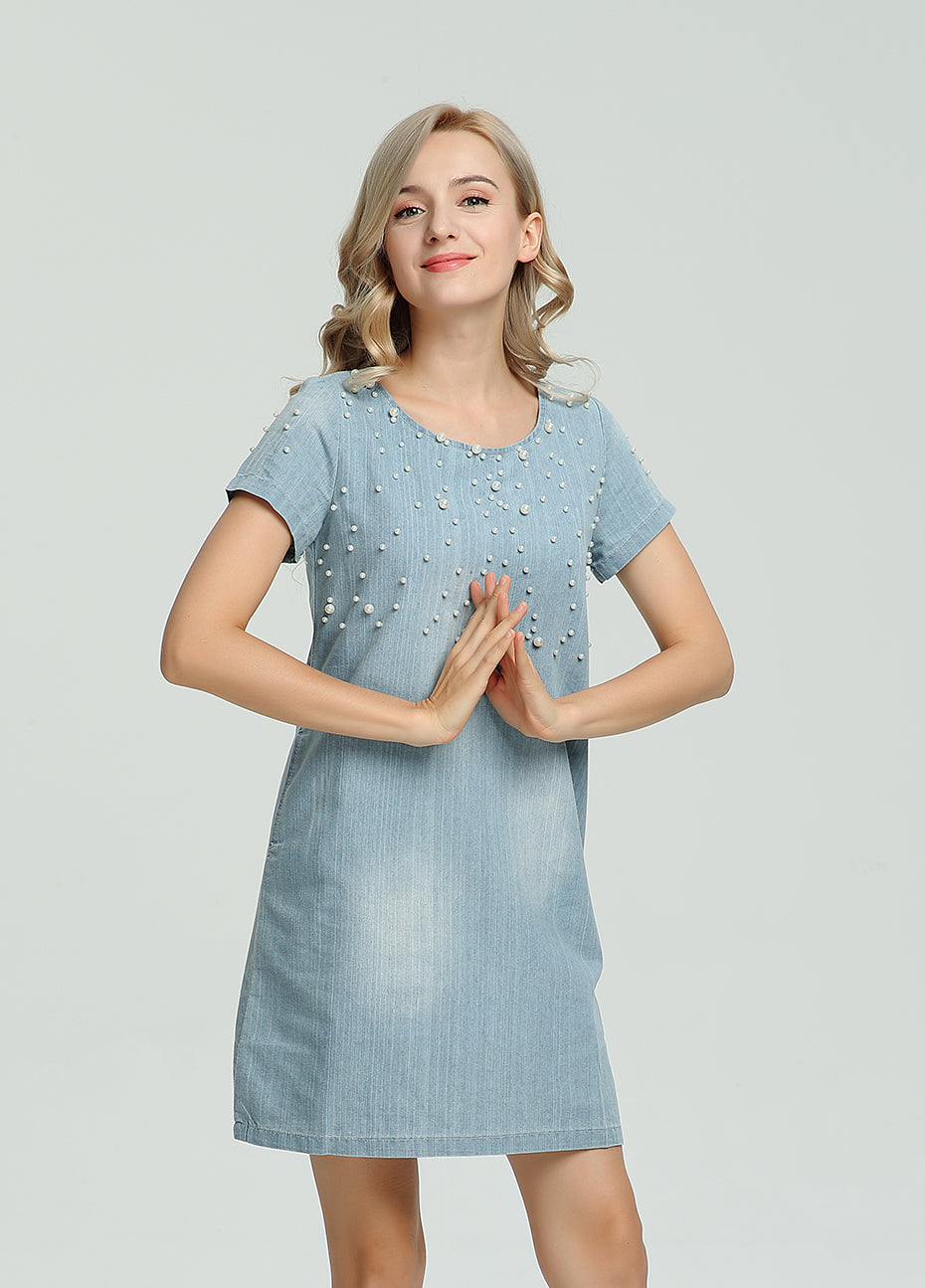 Beaded Jean Dress - Utterly Unique Boutique - S-5XL - FREE SHIP - NEW - This comfortable beaded jean dress is casual and unique with beads on the top half. It features a scoop neckline, ripped and faded design, zipper closure, short sleeves and falls above the knee. Pair with flats, sandals or heels. From our Utterly Unique boutique. Description: Neckline: Scoop, Fashion Element: Beads, Faded, Ripped, Material: