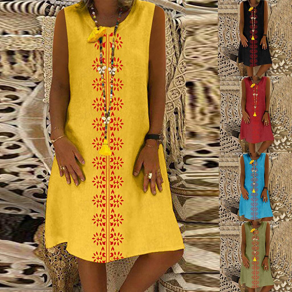 Enjoy this Beautiful Sleeveless Dress when at work or going out. Featuring a printed pattern down the front, scoop neckline, sleeveless, loose fit and falls above the knee. Choose from 5 summer colors. From our Utterly Unique Boutique. Description: Material: Linen, Cotton, Pattern: Front Print, Sleeve Length: Sleeveless, Dress Length: Above Knee, Neckline: Scoop, Fit: Loose.
