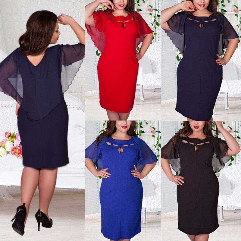 Getting ready is easy when you fall into this awesome Hollow Out Dress! Featuring batwing sleeves, loose fit, solid pattern, crew neckline with a V back, hollow out front and falls at the knee. Plus size. Choice of color red, blue, navy or black From our unique boutique. Description: Sleeve Length: Short, Material: Polyester, Dress Length: Knee, Pattern: Solid, Neckline: Crew With a V Back, Fashion Element: Hollow Out, V Back, Batwing Sleeves, Sleeve Style: Batwing, Fit: Loose.