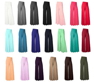 Palazzo Pants - Utterly Unique Boutique - S-3XL - NEW - FREE SHIPPING - These loose, awesome palazzo pants have a great flowy bottom. They feature an elastic and mid waist, full length, wide leg and solid pattern. Choose from 15 colors. Size S-3XL. From our Utterly Unique Boutique. Description: Closure: Elastic Waist, Material: Nylon, Polyester, Thickness: Thin, Length: Full, Waist: Mid, Fit: Loose, Pattern: