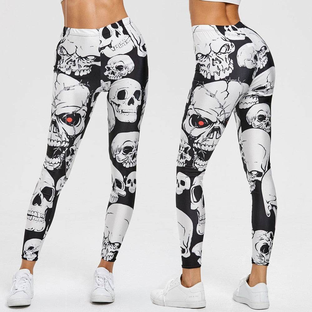 Throw on a pair of these cute, festive Skull Leggings to get the evening started. They feature a high elastic waist, ankle length and a skull pattern. Color Black. Delivery 4-13 days. From our Utterly Unique Boutique. Description: Waist: High, Elastic, Material: Polyester, Spandex, Pattern: Skulls, Length: Ankle, Wash: Cold Water.