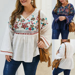 This cute and stylish Embroidered Bell Sleeve Top is versatile and can be worn with pants, shorts or jeans. It features floral embroidery on the top half, zigzag embroidery around the long bell sleeves and has a V-neckline. Choose from white or navy blue. Size XL-4XL. From our unique boutique. Description: Fashion Element: Embroidery, Material: Linen, Sleeve Length: Long, Sleeve Style: Bell, Neckline: V-Neckline.