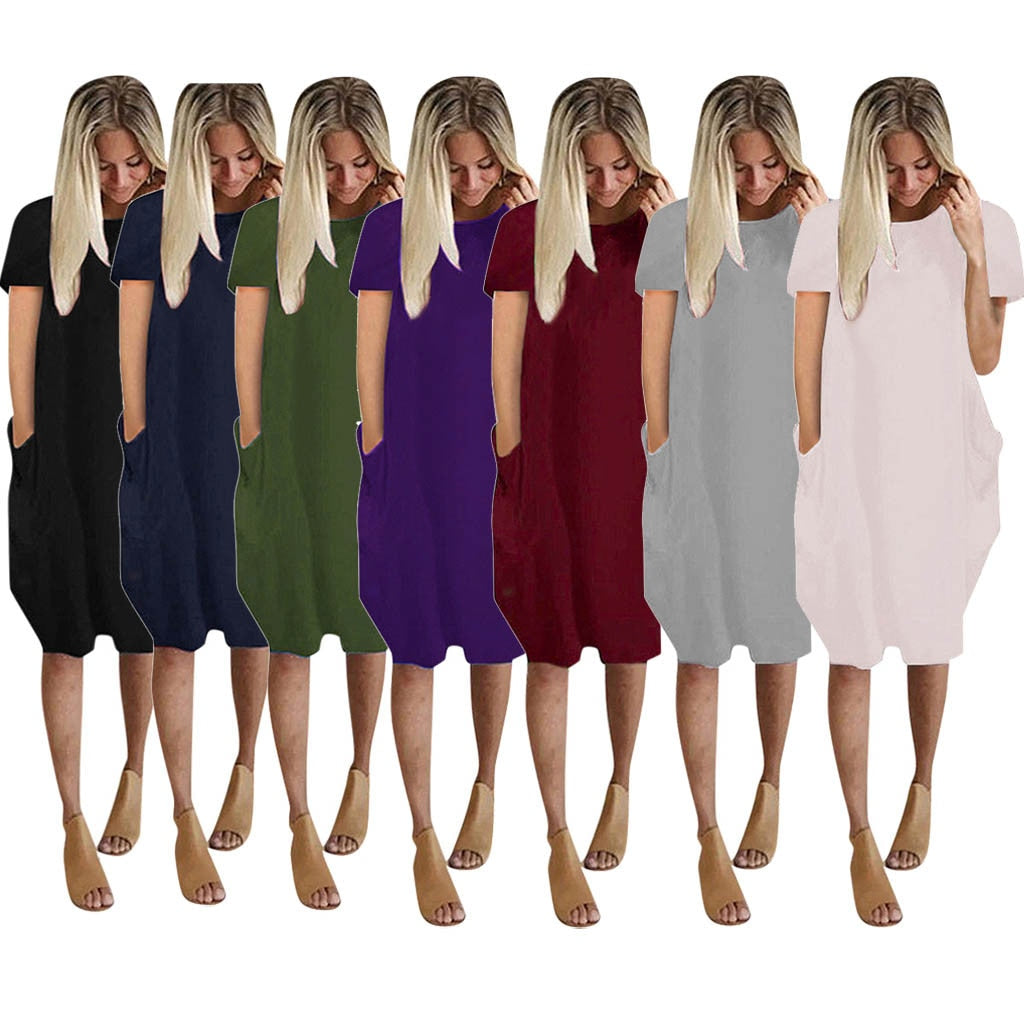 This Casual Pocket Dress is comfy and sure to go with anything in your closet. It features short sleeves, a solid pattern, pockets, a crew neckline and falls above the knee. Choose from 7 colors. Size S-5XL. Delivery 4-13 days. From our unique boutique. Description: Material: Cotton Blend, Pattern: Solid, Sleeve Length: Short, Fashion Element: Pockets, Dress Length: Above Knee, Neckline: Crew.