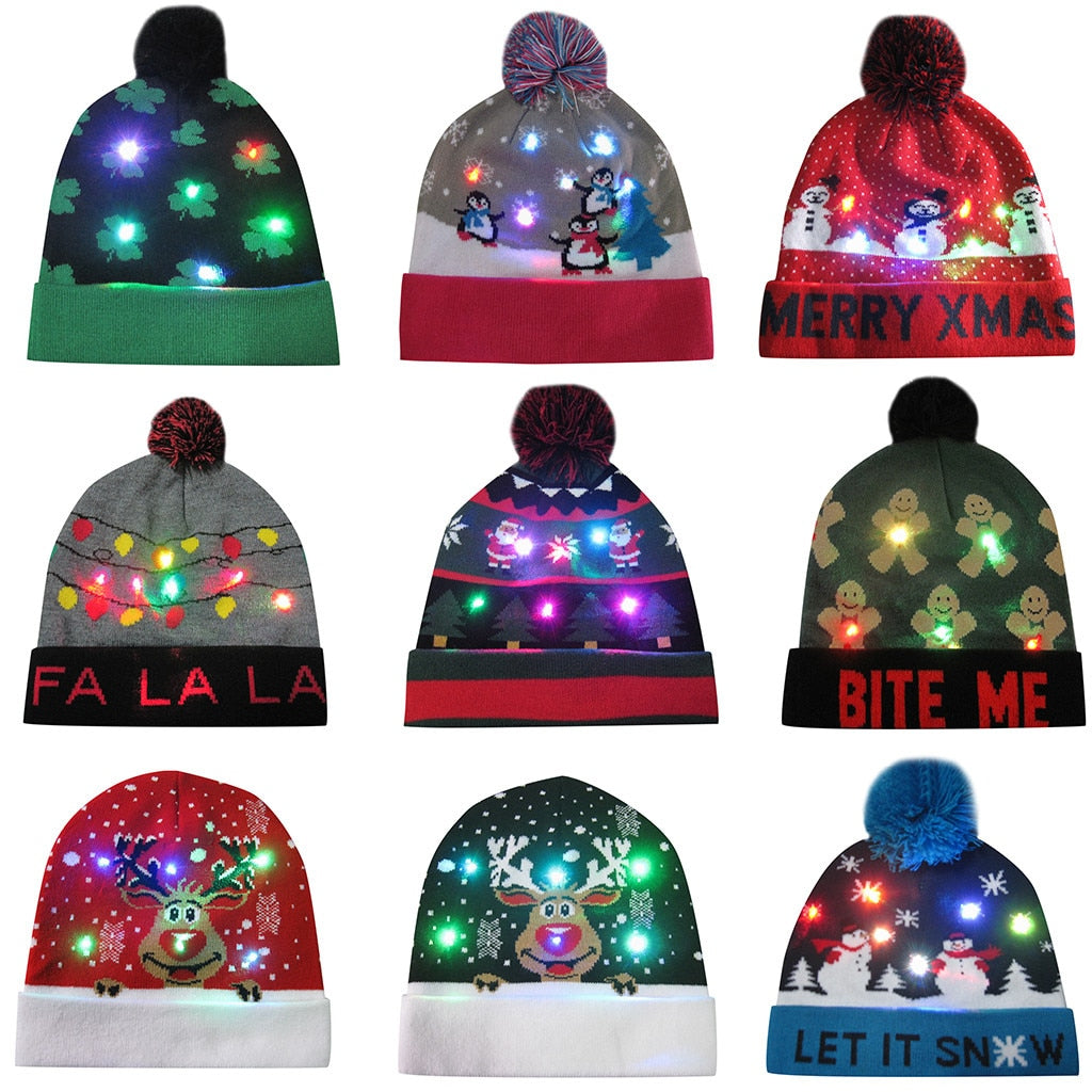 "Oh what fun! These knitted double layer LED Christmas Hats will light up the evening. Featuring LED lights, easy on/off button and your choice of 9 different festive patterns. Delivery 4-13 days. From our Utterly Unique Boutique. Description: Material: Cotton, Acrylic, Pattern: Print Fashion Element: LED, Size: 8.7"" x 8.7"", Batteries: Included, Fit: One Size Fits Most, Washable: Yes, Remove Unit From Pouch. DO Not Remove Or Disassemble Lights From The Hat."