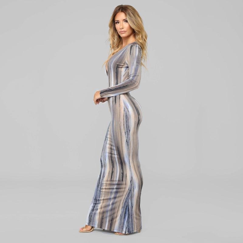 Multi-Colored Striped Maxi Dress