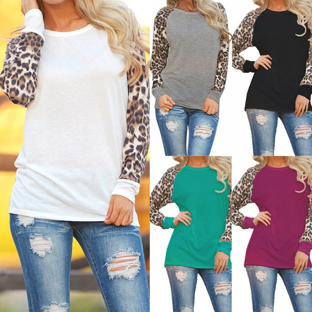 With a cute look and trendy style, this Leopard Sleeve Top features a leopard print sleeve, solid pattern, crew neckline and full sleeves. Your choice of 9 colors. Size S-5XL. Delivery 4-13 days. From our unique boutique. Description: Sleeve: Leopard Print, Material: Polyester Blend, Neckline: Crew, Closure: Pullover, Sleeve Length: Full, Pattern: Solid.