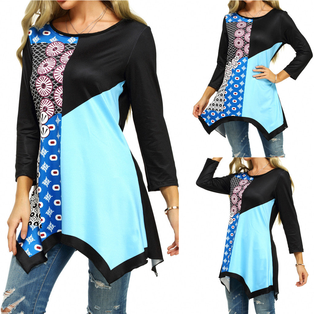 This Color Block Printed Tunic is not only versatile but flattering as well! It features a printed, color block pattern, 3/4 sleeves, a boat neckline and a high-low hemline. Pair with leggings, jeans or pants. Color black. Size S-5XL. From our unique boutique. Description: Fabric: Chiffon, Sleeve Length: 3/4 Fashion Element: High-Low Hem, Color Block, Pattern: Printed Neckline: Boat.