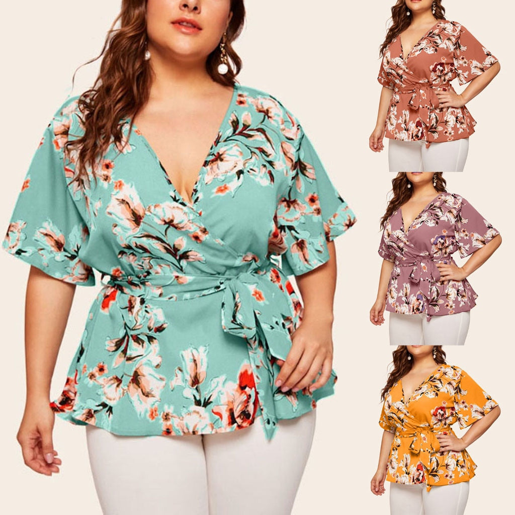 This flattering Front Tie Floral Top is stylish and features a V-neckline, short sleeves, floral pattern and a self front waist tie with loops. Choose from 4 colors. Size XL-5XL. Delivery 4-13 days. From our unique boutique. Description: Fashion Element: Self Front Waist Tie With Loops, Pattern: Floral, Material: Polyester, Neckline: V-Neck, Sleeve Length: Short.