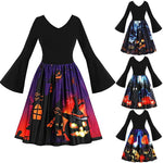 Dress up this holiday in one of these super cute Bell Sleeve Halloween Dresses! It features a flared bottom, V-neckline, full bell sleeves, pleats and falls below the knee. Choose from 4 fun patterns. Size S-5XL. Delivery 4-7 days. From our unique Boutique. Description: Material: Polyester, Pattern: Haunted House, Black Cat, Cute Cat Or Pumpkins, Sleeve Length: Full, Length: Below Knee, Neckline: V-Neck, Fashion Element: Pleated, Bell Sleeves, Flared Bottom.