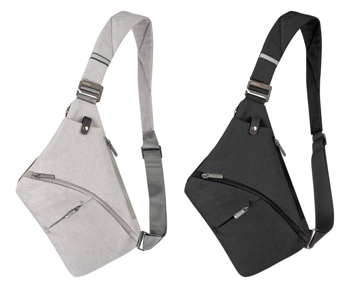 This popular Sling Bag features an adjustable shoulder strap, is splash proof, solid pattern, main compartment with zipper closure, soft to the touch, exterior open pocket with a snap for your phone, interior zipper pocket, exterior zipper pocket for cards, another exterior zipper pocket for essentials and an exterior zipper side pocket. Great for hiking, school, travel. Color light gray or black. Delivery 4-13 days. From our Utterly Unique Boutique.