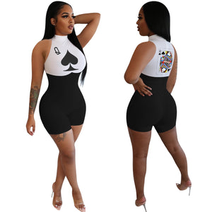 Have fun in this one piece Poker Card Romper, sure to spark a conversation! Featuring a high neckline, sleeveless, skinny fit, short in length, a queen card with a spade symbol printed on the back and a spade symbol and Q printed on the front. Choose from 4 colors. Delivery 4-13 days. From our Utterly Unique Boutique. Description: Material: Spandex, Polyester, Sleeve Length: Sleeveless, Fit: Skinny, Neckline: High, Pattern: Playing Card, Length: Short.