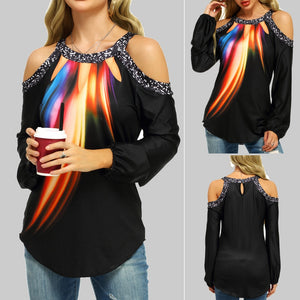 Slide into this cool and stylish Cold Shoulder Colorful Top. Featuring a flattering colorful print pattern, a crew neckline, asymmetrical hemline, cold shoulder, back button closure and full sleeves. Color black. Size S-5XL. Delivery 4-13 days. From our unique boutique. Description: Neckline: Crew, Sleeve Length: Full, Material: Polyester, Pattern: Colorful Print, Fashion Element: Cold Shoulder, Closure: Back Button, Hemline: Asymmetrical.
