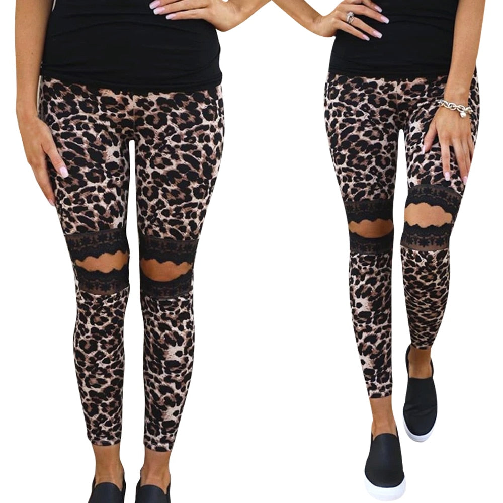 Take a walk on the wild side in these soft Hollow Out Leopard Pants. Featuring a mid elastic waist, full length, lace, hollow out and a leopard print. Pair with boots, flats or sandals. Pattern leopard. Delivery 4-13 days. From our unique boutique. Description: Material: Polyester, Spandex, Pattern: Leopard, Waist: Mid, Elastic, Length: Full, Fashion Element: Lace.
