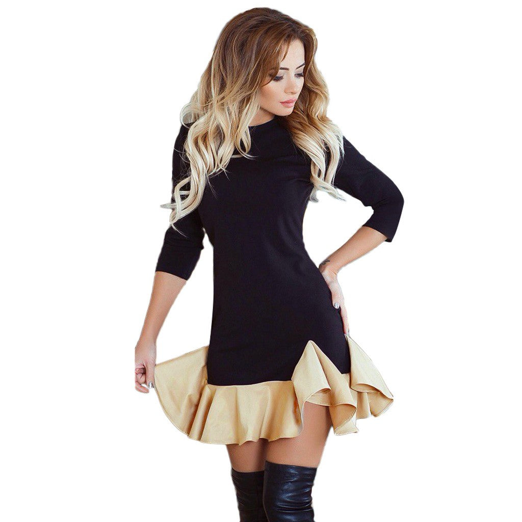 Pair this cute Party Dress with boots or heels for a knock-out look! Featuring a crew neckline, half sleeves, two-tone pattern, above the knee length and a ruffle bottom. From our Utterly Unique Boutique. Description: Length: Above Knee, Neckline: Crew, Material: Polyester, Sleeve Length: Half, Fashion Element: Ruffle Bottom, Pattern: Two-Tone.