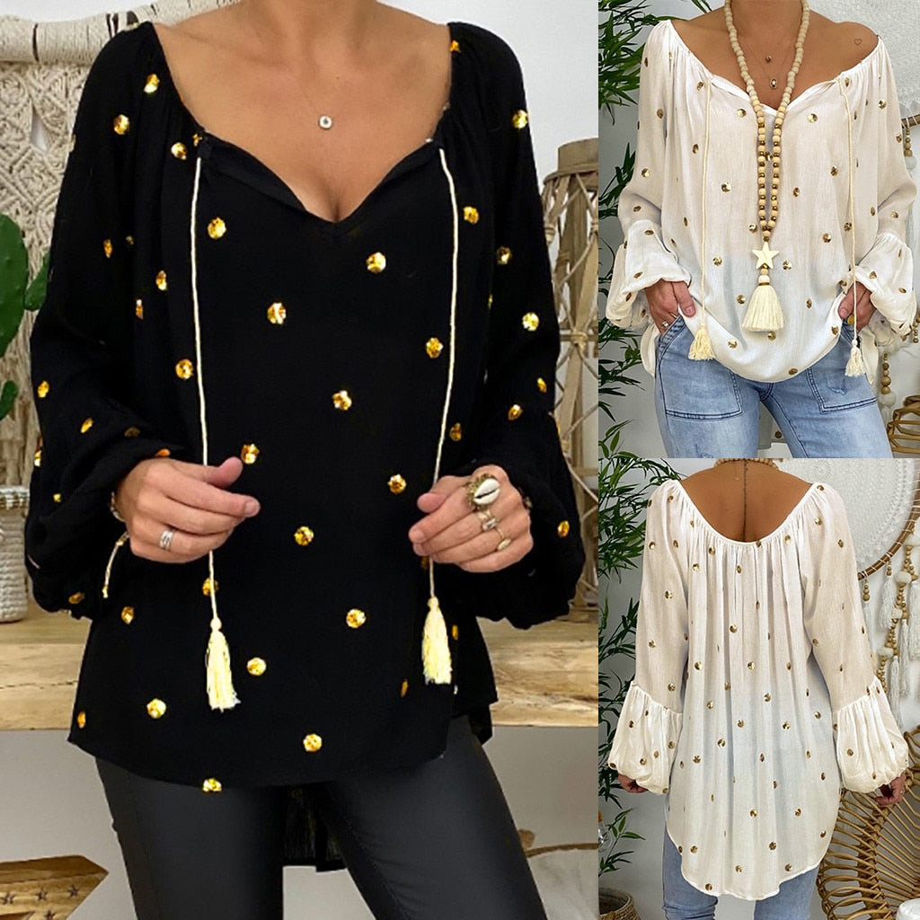 Dotted Tassel Top