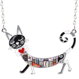 "This charming and attractive Statement Cat Necklace features a colorful cat with an attitude. A sure bet for compliments. It has a link chain and a lobster claw closure. Your choice of 6 colors. From our be unique boutique. Description: Chain: Link, Metal: Alloy, Material: Metal, Pattern: Cat, Chain Length: 17.7"" + 2.7"", Pendant: 2.5"" wide x 2"" tall."