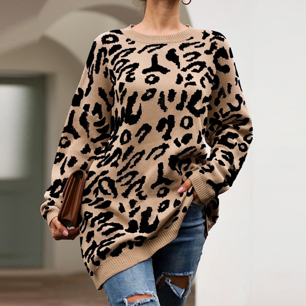 With a beautiful look and trendy style, this cute Knitted Leopard Sweater features a leopard pattern, long length, soft to the touch, loose fit, round neckline and full sleeves. Your choice of 4 colors. Size S-XL. From our be unique boutique. Description: Pattern: Leopard, Material: Cotton, Neckline: Round, Closure: Pullover, Sleeve Length: Full, Length: Long, Fit: Loose.