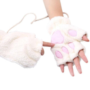 Slip into these thick, plush Half Finger Paw Gloves when the weather outside is cold! These soft, snug gloves are accented to look like a paw for a cute and unique look. Choose from 14 colors and some come with a string. From our unique boutique. Description: Material: Acrylic, Pattern: Paw, Size: One Size Fits Most. Length: Wrist.