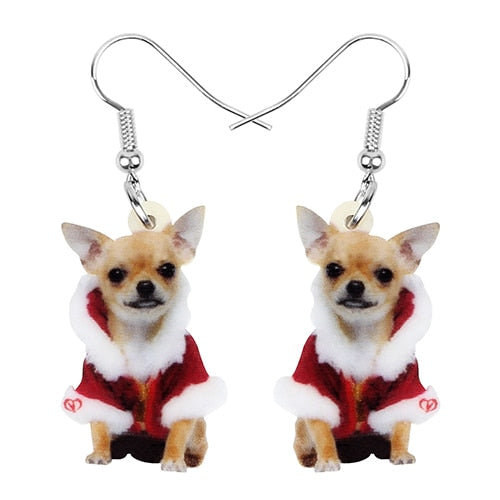 "Wearing these cute Chihuahua Christmas Earrings will make you feel like your pet is always close by. They're drop earrings with a hook and will compliment anything you wear. The Christmas outfit gives it that perfect touch for the holidays! Buy one for yourself or give as a gift. From our Utterly Unique Boutique. Description: Earring Type: Drop, Closure: Hook, Material: Acrylic, Shape: Dog, Size: 1.18"" high x 0.75"" wide."