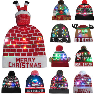 Oh what fun! This LED Knitted Hat will light up the party! Featuring LED lights, double layers, on and off button and your choice of 11 different festive patterns. From our Utterly Unique Boutique. Description: Material: Cotton, Acrylic, Pattern: Holiday Prints Fashion Element: 3 Colorful Flashing LED Lights, Includes: Batteries, Size: One Size Fits Most, On/Off Button Located On The Edge Of Hat.