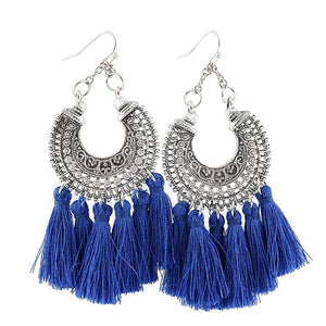 "Put on a pair of these trendy Tassel Drop Earrings which will easily go with anything in your wardrobe. Featuring a drop earring, silver plated design and a fan of tassels. Your choice of 4 colors. From our fabulous handbags and accessories. Delivery 4-13 days. Description: Type: Drop, Pattern: Fan Of Tassels, Metal: Alloy, Material: Cotton, Length: 3.3"" Width: 1.5""."