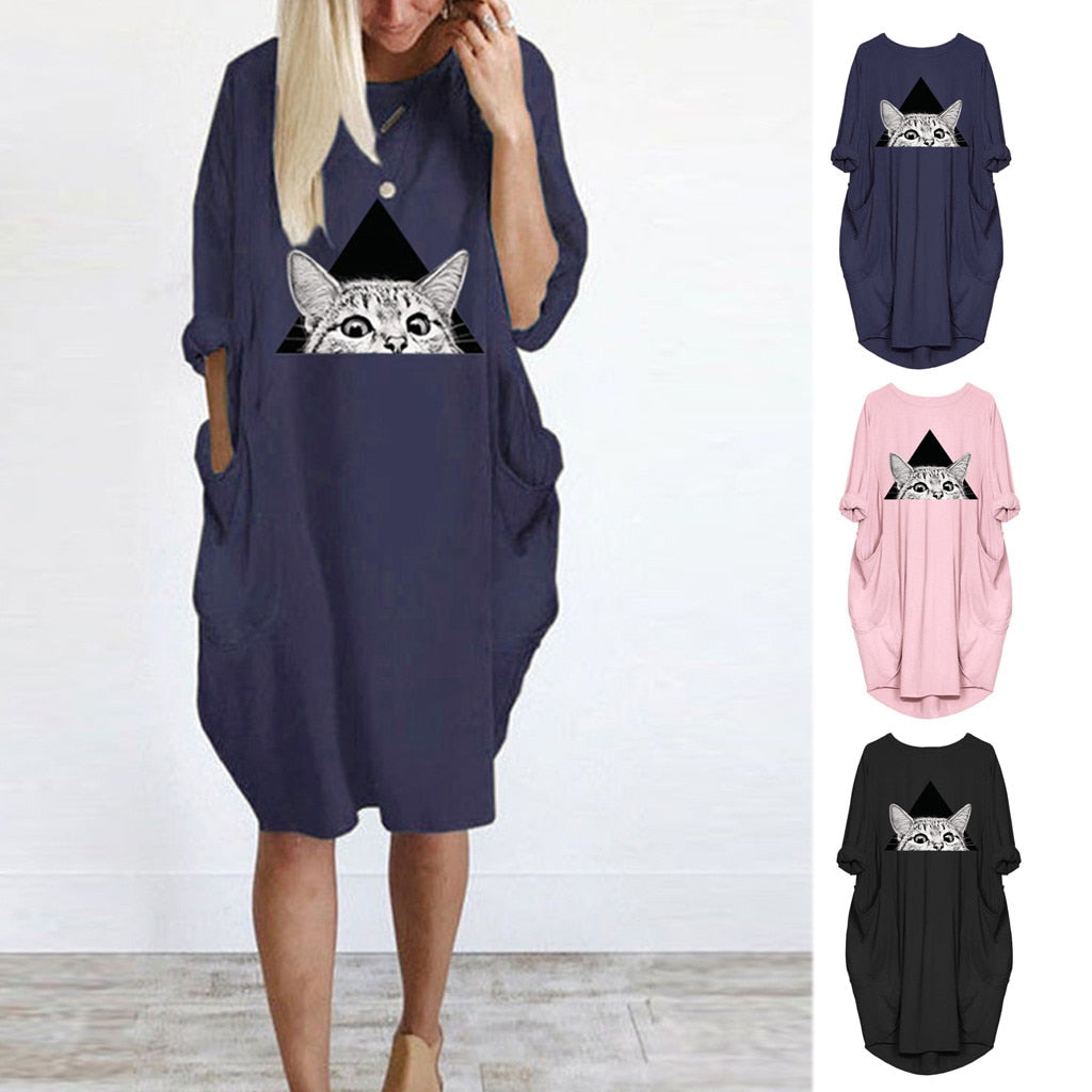 So cute and fun! This adorable dress features a big peeking cat on the front, full sleeves, a round neckline, solid pattern, pockets, loose fit and falls at the knee. Choose from navy blue, black or pink. S-5XL. 4-13 day delivery. From our Utterly Unique Boutique. Description: Pattern: Solid, Neckline: Round, Fashion Element: Applique, Pockets, Fit: Loose, Material: Polyester, Dress Length: Knee, Sleeve Length: Full.