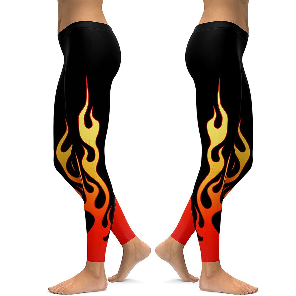 Take it up a notch and throw on a pair of these comfortable Flame Leggings. They feature an ankle length, mid elastic waistline and flame pattern. Color black. Size S-4XL. From our Utterly Unique Boutique. Description: Material: Polyester, Spandex, Pattern: Flames, Waist: Mid, Elastic, Length: Ankle.