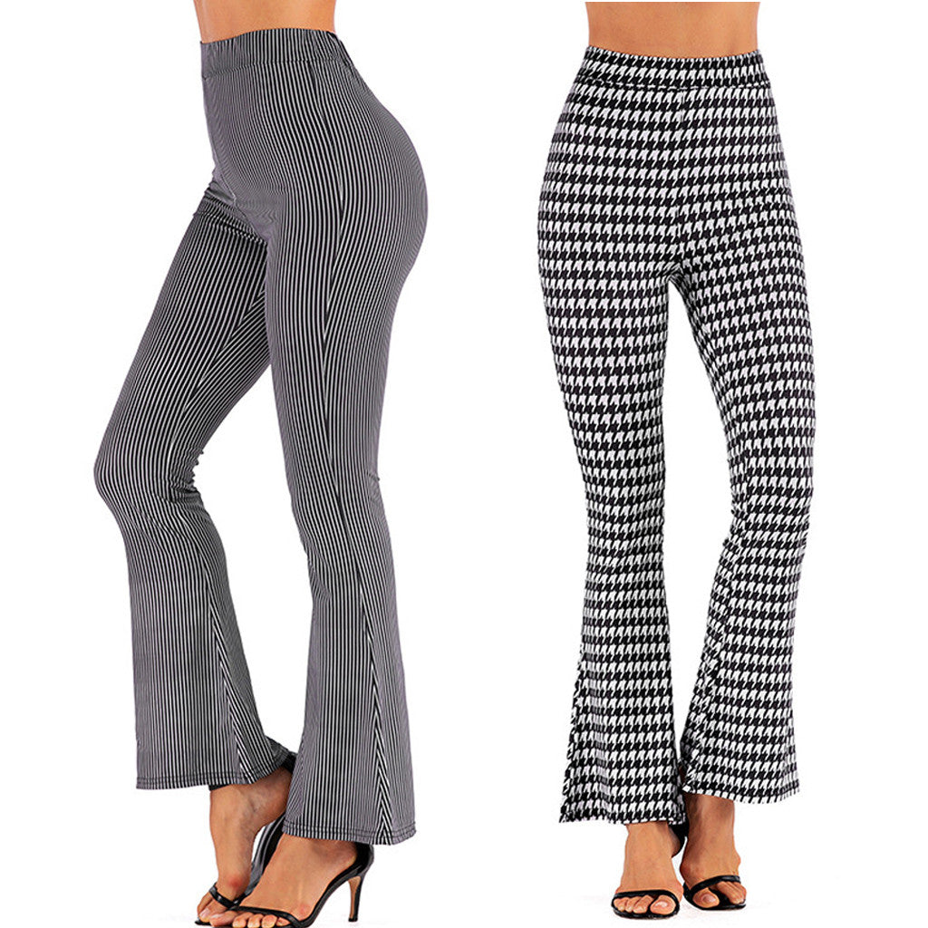 You'll want to be seen in these super cute High Waist Flared Pants this season. Featuring a high elastic waistline, full length, flared leg and a houndstooth or striped pattern. From our be unique boutique. Description: Closure: Elastic Waist, Length: Full Waistline: High, Pattern: Houndstooth Or Striped, Material: Polyester, Fashion Element: Flared Leg.