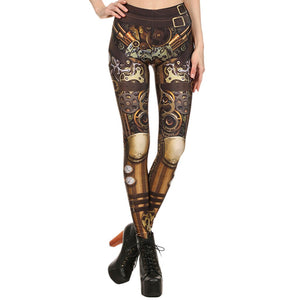 Slip into fashionable style that shows off your shape. These really cute Mechanical Leggings feature a mid-waistline, printed mechanical pattern and are ankle length. Color brown. From our Utterly Unique Boutique. Description: Pattern: Mechanical, Material: Spandex, Polyester, Length: Ankle, Waistline: Mid, Closure: Elastic.