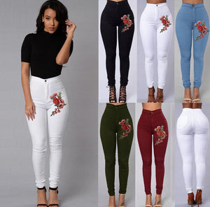 These soft, comfortable Embroidered Stretchy Pants are a must-have for any closet. Featuring a high waistline, pockets, zipper and button closure, full length and embroidered floral appliques. Choose from 5 colors. From our unique boutique. Description: Material: Cotton, Polyester, Pattern: Solid, Waist: High, Length: Full, Closure: Button, Zipper Fashion Element: Embroidered Floral Appliques, Pockets.