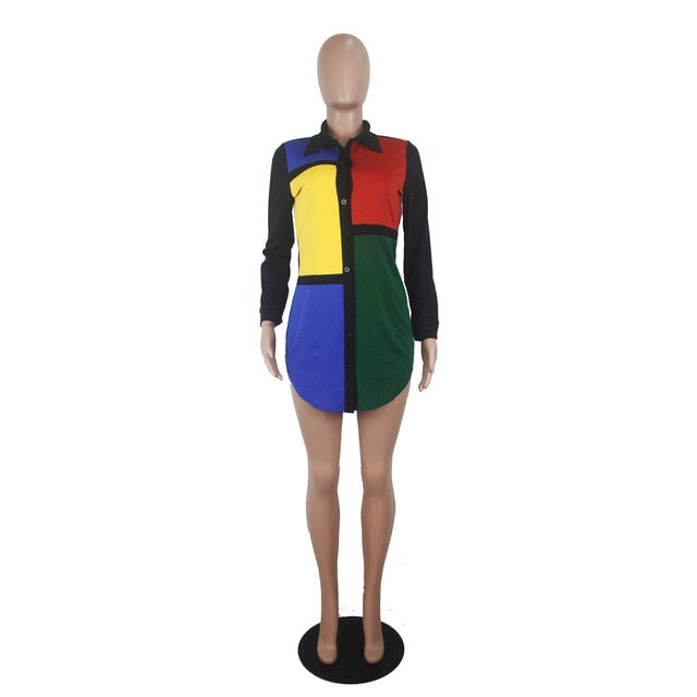 Color Block Shirt Dress